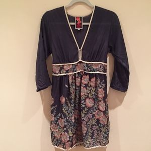 Johnny Was silk floral navy mini dress XS